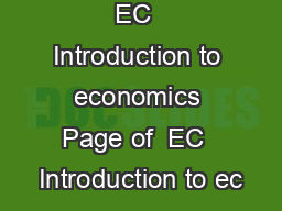 EC  Introduction to economics Page of  EC  Introduction to ec