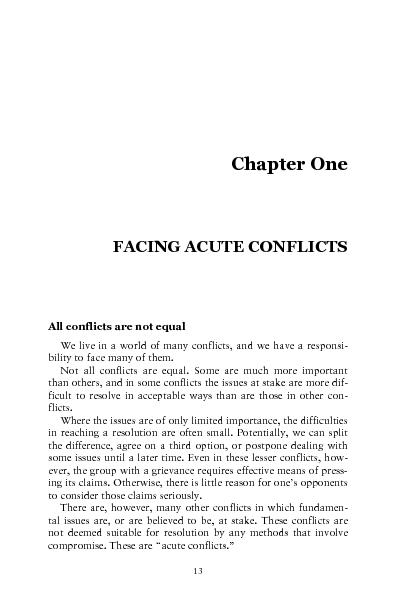 FACING ACUTE CONFLICTS