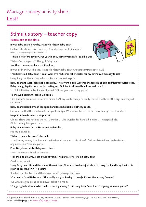 Stimulus story – teacher copyRead aloud to the class.It was Baby