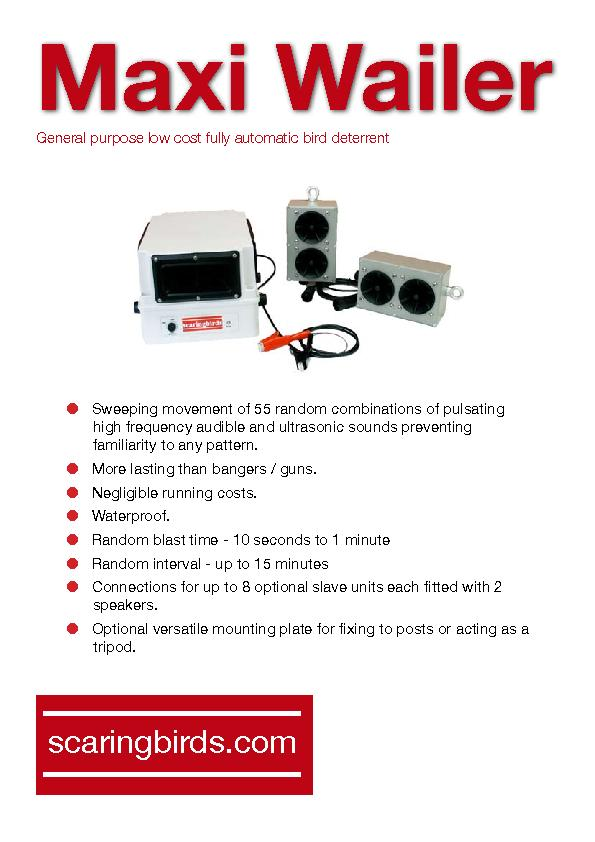 Maxi WailerGeneral purpose low cost fully automatic bird deterrent ...