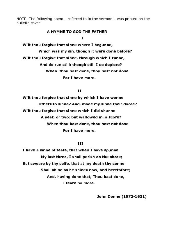 OTE: The following poem – referred to in the sermon – w&