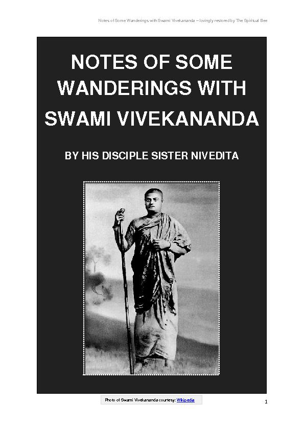 Notes of Some Wanderings with Swami Vivekananda lovingly restored by T
