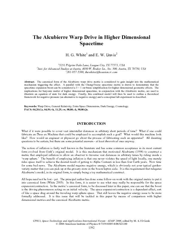 INFLATION: THE ALCUBIERRE WARP DRIVE MODEL Alcubierre(1994) derived a