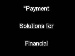 "Round Table on ""Payment Solutions for Financial Inclusion ..."