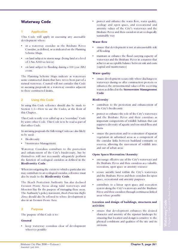 Chapter 5: Codes and Related Provisions Brisbane City Plan 2000 ...