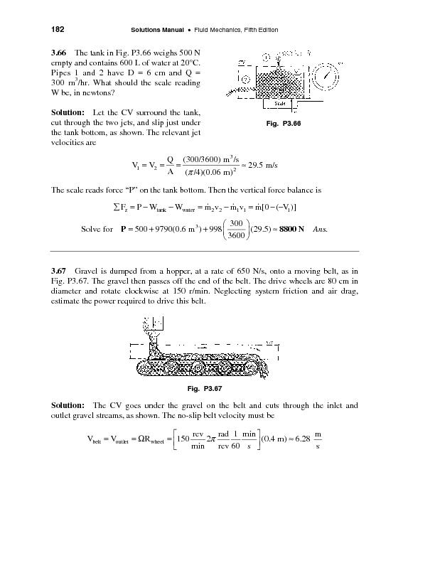 Solutions Manual Fluid Mechanics, Fifth Edition  The tank in Fig. P3.6