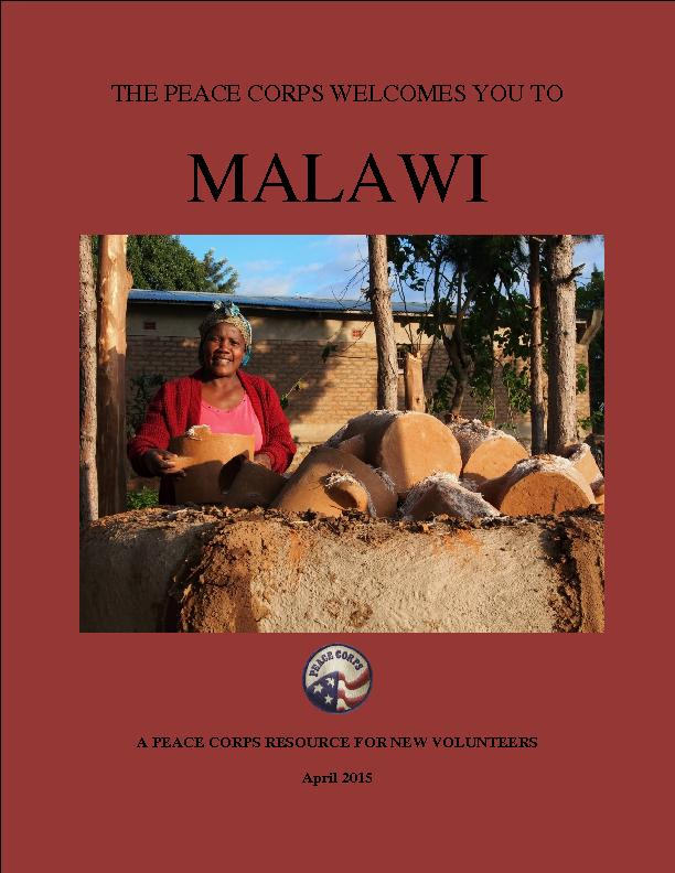 THE PEACE CORPS WELCOMES YOU TOMALAWIA PEACE CORPS RESOURCEFOR NEW VOL