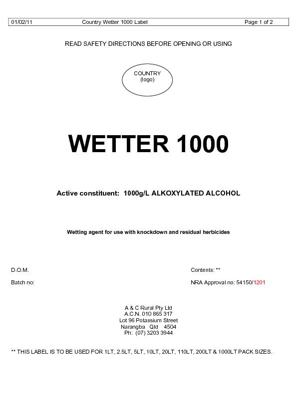 01/02/11 Country Wetter 1000 Label   Page 1 of 2