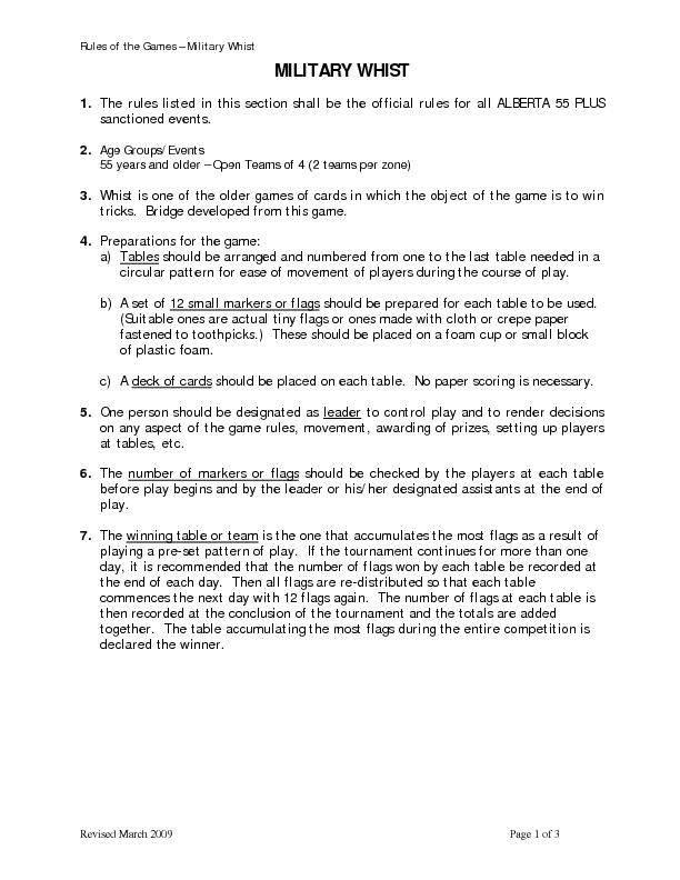 Rules of the Games