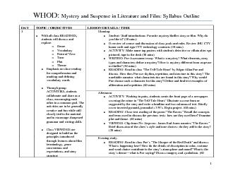 WHOD:Whodunit? Mystery and Suspense In Literature and Film
