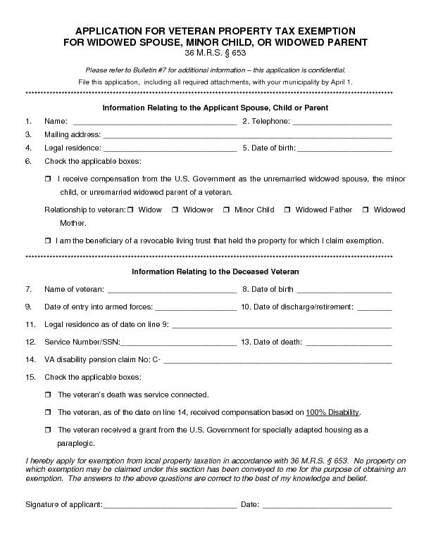APPLICATION FOR VETERAN PRPlease refer to Bulletin #7 for additional i