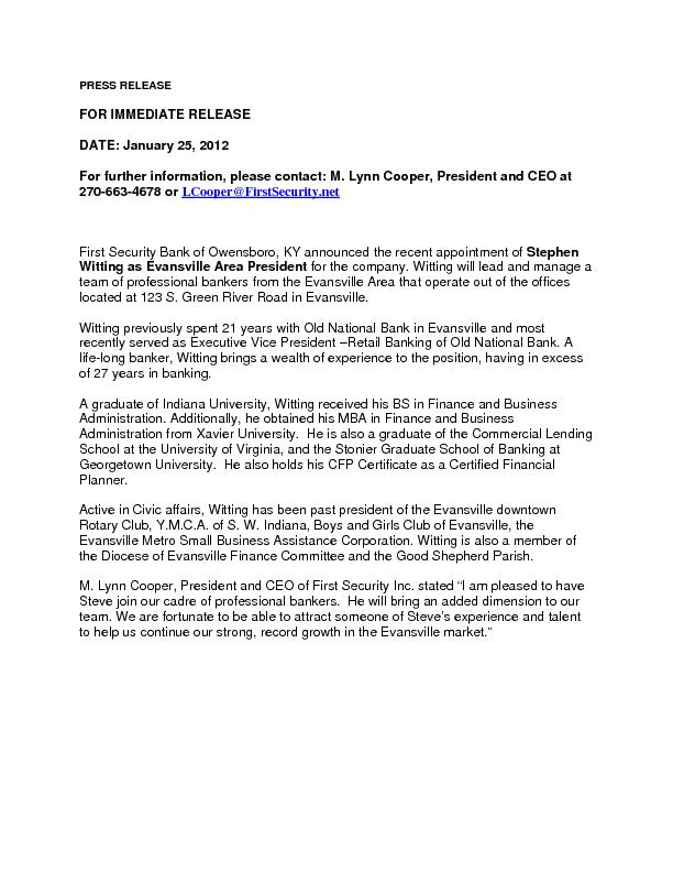 FOR IMMEDIATE RELEASE DATE: January 25, 2012  Lynn Cooper, President a PowerPoint PPT Presentation