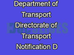Department of Transport Directorate of Transport Notification D