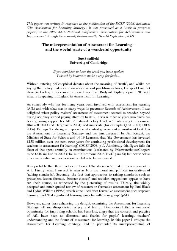 This paper was written in response to the publication of the DCSF (200