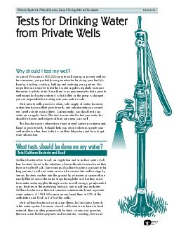 P RINTED O REC CLED PA PE Wisconsin Department of Natural Resources Bureau of Drinking Water and Groundwater PUBLDG  Tests for Drinking Water from Private Wells Why should I test my well As one of Wi