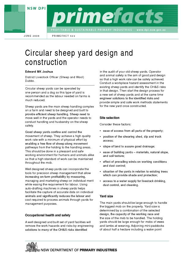 Circular sheep yards can be operated by