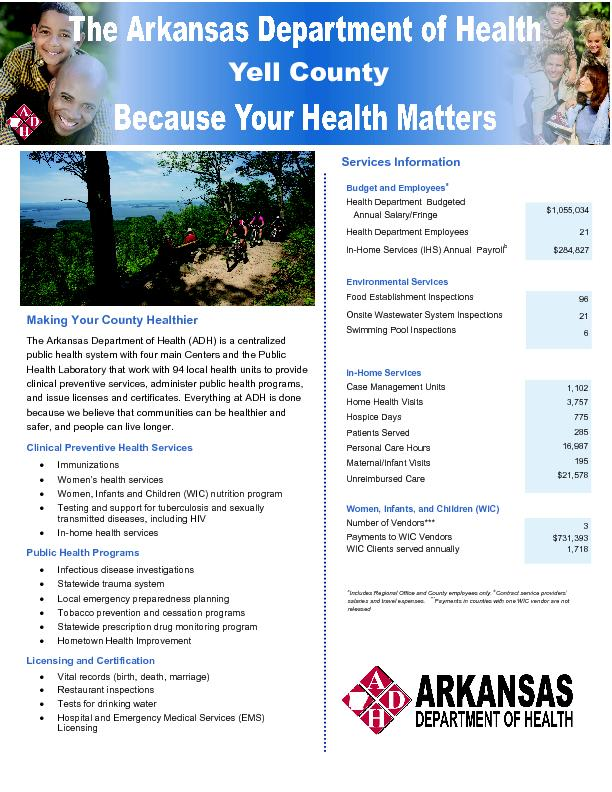 Making Your County Healthier The Arkansas Department of Health (ADH) i
