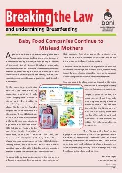 and undermining Breastfeeding Breaking the Law Series   Baby Food Companies Continue to Mislead Mothers Series   Page  plethora on benefits of breastfeeding have been documented beyond doubt and so a