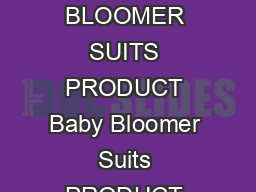 PROJECT PROFILE ON BABY BLOOMER SUITS PRODUCT Baby Bloomer Suits PRODUCT CODE ASICC  QUALITY STANDARD