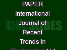 INFORMATION PAPER International Journal of Recent Trends in Engineering Vol
