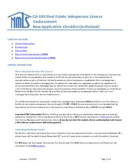 Updated  Page of Individual New Application Agency Requirements CALIFORNIA BRE REAL ESTATE SALESPERSON LICENSE ENDORSEMENT This document includes instructions for an individual new application reques