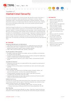 HOSTED EMAIL SECURITY    DATASHEETPage 1 of 2