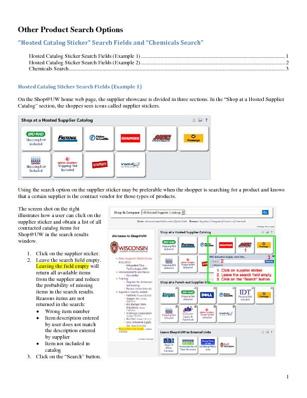 Other Product Search Options CatalogandHosted Catalog Sticker Search F