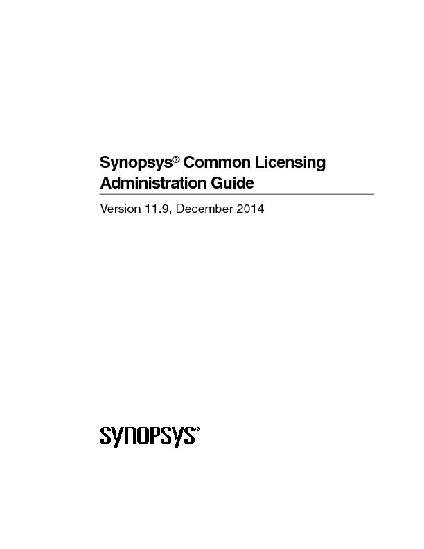 Synopsys Common Licensing