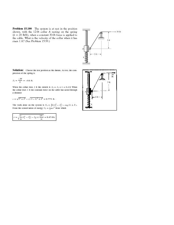Problem15.100Thesystemisatrestinthepositionshown,withthe12-lbcollarres