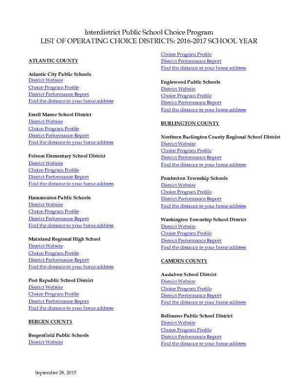 September, 2015Interdistrict Public School Choice ProgramLIST OF OPERA
