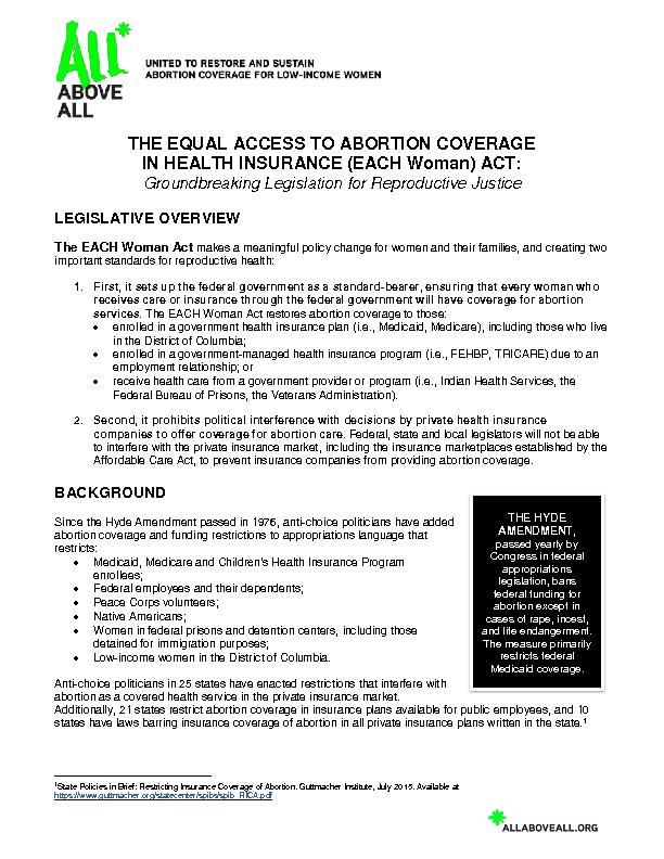 THE EQUAL ACCESS TO ABORTION COVERAGE
