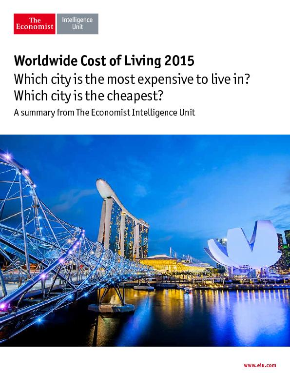 Worldwide Cost of Living 2015Which city is the most expensive to live PowerPoint PPT Presentation