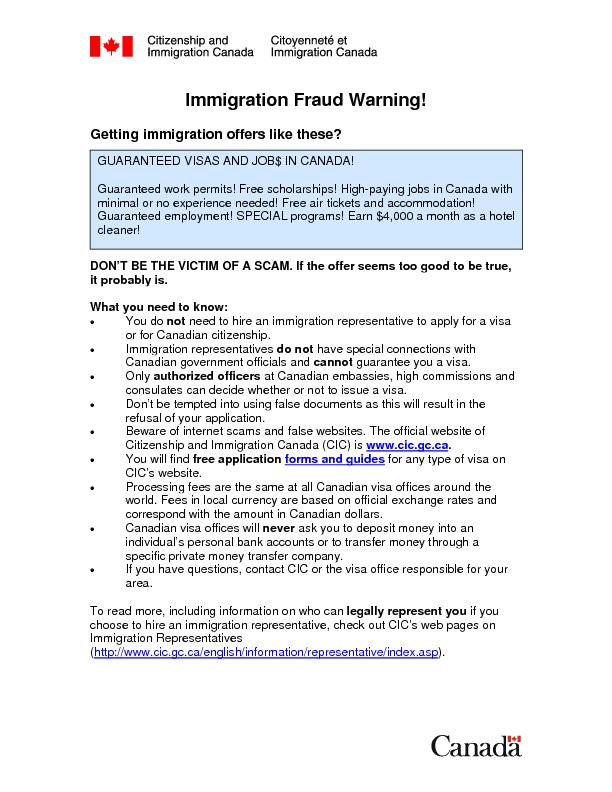 Immigration Fraud Warning!  Getting immigration offers like these?  ..