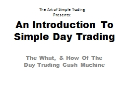 An Introduction To Simple Day Trading