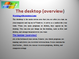 The desktop (overview