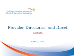 Provider Directories and Direct PowerPoint PPT Presentation
