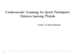 Cardiovascular Screening for Sports Participants