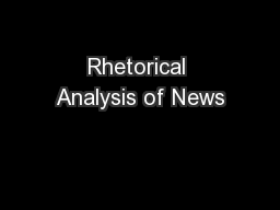 Rhetorical Analysis of News