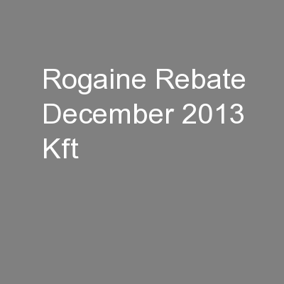 Rogaine Rebate December 2013 Kft