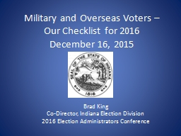 Military and Overseas Voters –  Our Checklist for 2016