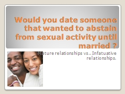 Would you date someone that wanted to abstain from