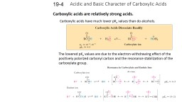 Acidic and Basic Character of Carboxylic Acids