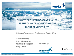 CLIMATE ENGINEERING GOVERNANCE – IS THE CLIMATE CONVENTIO