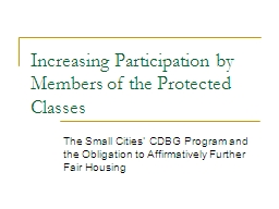 The Small Cities' CDBG Program and the Obligation to Affi