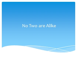 No Two are Alike