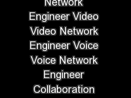 Data Center Data Center Engineer Routing and Switching Network Engineer Video Video Network Engineer Voice Voice Network Engineer Collaboration Architect and Engineer Security Network Security Engine
