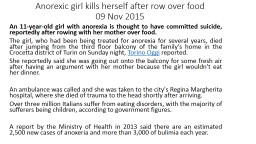 Anorexic girl kills herself after row over food
