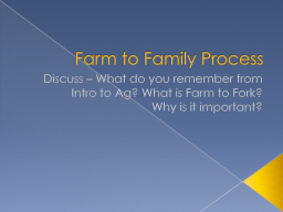 Farm to Family Process PowerPoint PPT Presentation