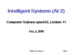 CPSC 422, Lecture 11
