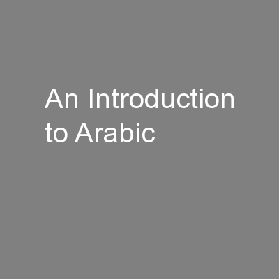 An Introduction to Arabic